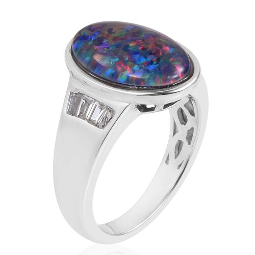 One Time Deal - Australian Boulder Opal (Ovl), White Topaz Ring in Rhodium Plated Sterling Silver