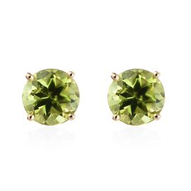 9K Yellow Gold AA Hebei Peridot (Rnd) Stud Earrings (with Push Back) 1.75 Ct.