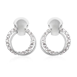 White Austrian Crystal and Simulated Diamond Butterfly Earrings (with Push Back) in Gold Tone
