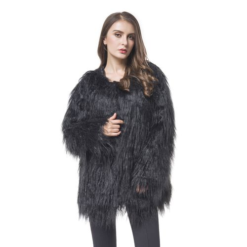 Close Out Designer Inspired Black Colour Faux Fur Jacket (Size 75X53 Cm)