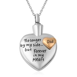 2 Piece Set - Engraved Memorial Dad Heart Pendant with Chain (Size 20) and Funnel with Needle in Dua