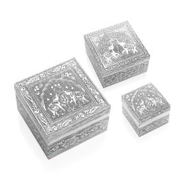Set of 3 - Handcrafted Elephant Embossed Nested Box with Red Velvet Lining (Size L-12x12x6.3/ M-8.8x