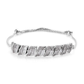 1 Carat Diamond Friendship Adjustable Bracelet in Platinum Plated Silver 7.25 Grams 9.5 Inch