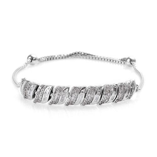 1 Carat Diamond Friendship Adjustable Bracelet in Platinum Plated Silver 7.25 Grams 9.5 Inch