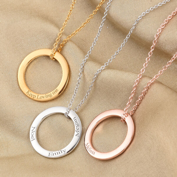 Personalise Engraved Circle Necklace
