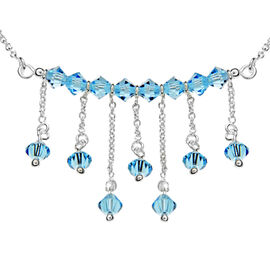 Blue Crystal Collar Necklace in Sterling Silver 16 Inch