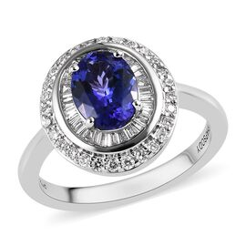 RHAPSODY 1.75 Ct AAAA Tanzanite and Diamond Double Halo Ring in 950 Platinum 6 Grams VS EF