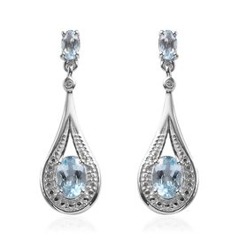 Espirito Santo Aquamarine (Ovl), Diamond Drop Earrings (with Push Back) in Platinum Overlay Sterling