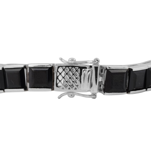 Boi Ploi Black Spinel (Sqr) Bracelet (Size 7.5) in Rhodium Overlay Sterling Silver 63.250 Ct., Silver wt. 17.80 Gms