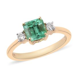 ILIANA 18K Yellow Gold AAA Boyaca Colombian Emerald and Diamond (SI/G-H) Ring 1.35 Ct.