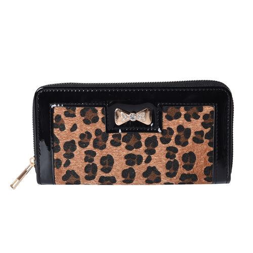 Designer Inspired- Leopard Design RFID  Wallet (Size 19x3x9.5cm)- Brown