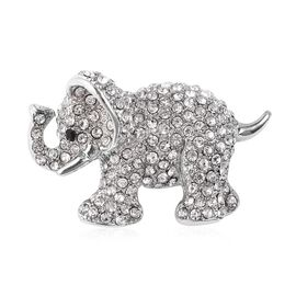 Black and White Austrian Crystal Elephant Brooch in Silver Tone
