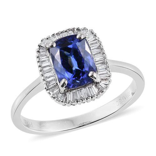 RHAPSODY 2.25 Ct AAAA Tanzanite and Diamond Halo Ring in 950 Platinum VS EF