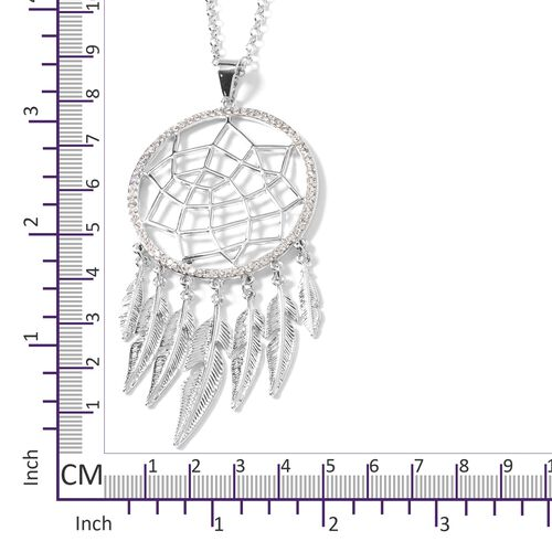 White Austrian Crystal (Rnd) Dreamcatcher Pendant With Chain in Silver Tone