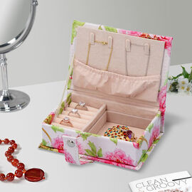 Portable Jewellery Floral Pattern Book with Magnetic Button Lock (Size:15x10x4.5Cm) - White and Pink