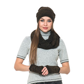 Black and Chocolate Colour Knitted Snood (Size 75x30 Cm), Gloves and Cap with Sequins