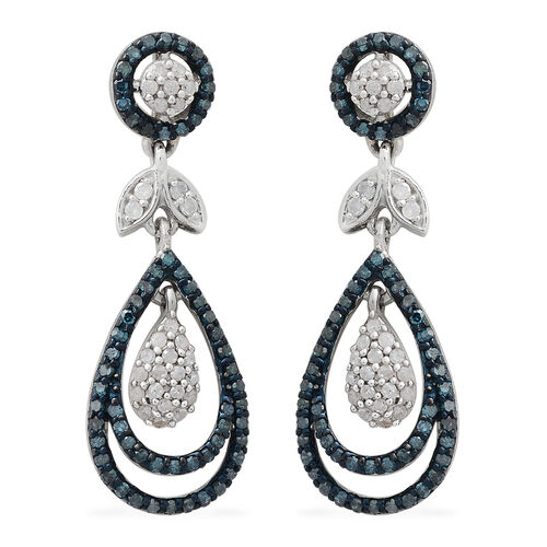 Blue Diamond (Rnd), White Diamond Earrings (with Push Back) in Platinum Overlay Sterling Silver 1.000 Ct. Number of Diamonds 186