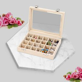 Cream Colour Velvet Jewellery Box with 24 Sections and Glass Window (Size 20x15x4.5cm)