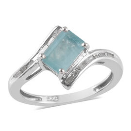 1 Carat Grandidierite and Diamond Classic Ring in Platinum Plated Sterling Silver