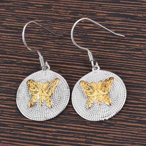 Platinum and Yellow Gold Overlay Sterling Silver Butterfly Earrings, Silver wt 5.43 Gms