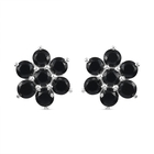 3 Carat Thai Black Spinel Floral Stud Earring in Silver
