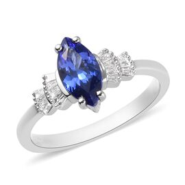 RHAPSODY 950 Platinum AAAA Tanzanite and White Diamond Ring  1.25 Ct, Platinum wt. 4.25 Gms