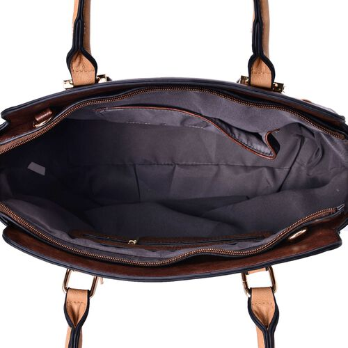 Set of 2 - Dark Chocolate and Dark Beige Colour Tote Bag with External Zipper Pocket (Size 30x27x11 Cm) and Crossbody Bag (Size 23x15x5 Cm) and Adjustable and Removable Shoulder Strap