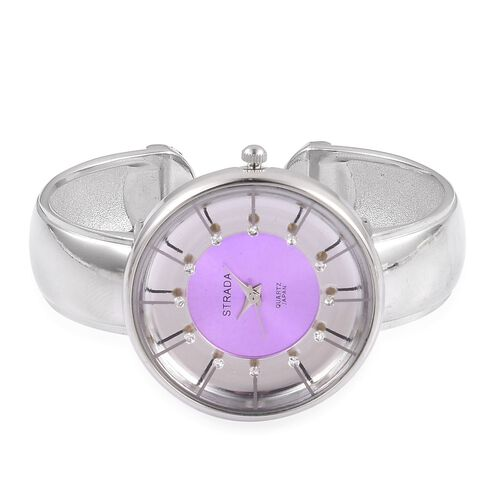STRADA Japanese Movement Water Resistant Silver Colour Plated Bangle Watch with Studded White Austrian Crystal
