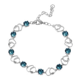 J Francis  - Crystal from Swarovski Indicolite Colour Crystal (Rnd) Adjustable Heart Bracelet (Size 7.5 with 2 inch Extender) in Platinum Plated