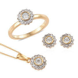 Diamond (Rnd) Ring, Earrings (With Push Back) and Pendant With Chain Set in 14K Gold Overlay Sterlin