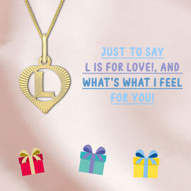 9K Yellow Gold Diamond Cut Heart Initial L Pendant