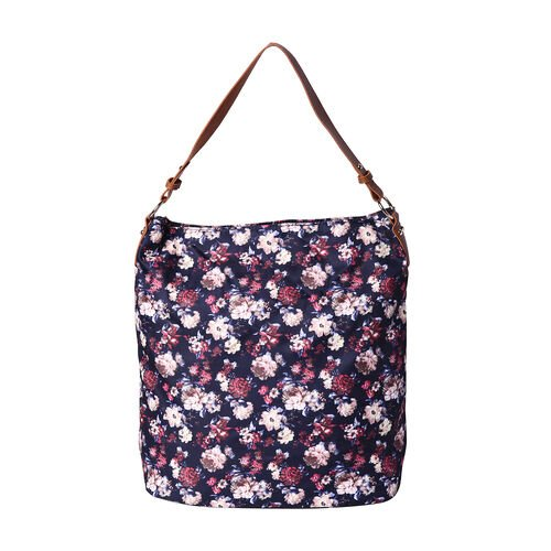 Floral Print Tote Bag with Zipper Closure (33x14x37cm) - Navy
