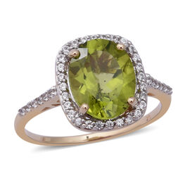 9K Yellow Gold AA Hebei Peridot (Ovl 10x8 mm), Natural White Cambodian Zircon Ring (Size S)  2.78 Ct.