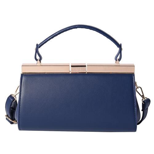 BOUTIQUE COLLECTION Indigo Blue Clutch Bag with Detachable Shoulder Strap and Top Handle (Size 26x13