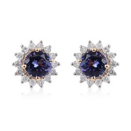 9K Yellow Gold Tanzanite (Rnd), Diamond Earrings 1.300 Ct.