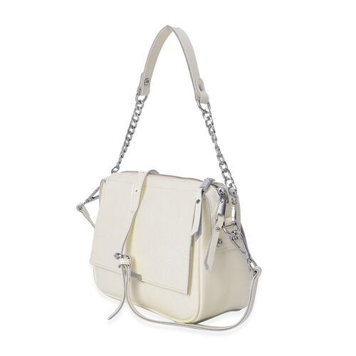 HONG KONG CLOSE OUT DEAL- 100% Genuine Leather White Metallic Colour Crossbody Bag with Removable Shoulder Strap (Size 24x10x18 Cm)