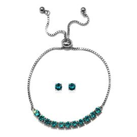 J Francis - 2 Piece Set - Crystal From Swarovski Blue Zircon Crystal (Rnd) Adjustable Bolo Bracelet