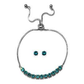 J Francis - 2 Piece Set - Crystal From Swarovski Blue Zircon Crystal (Rnd) Adjustable Bolo Bracelet