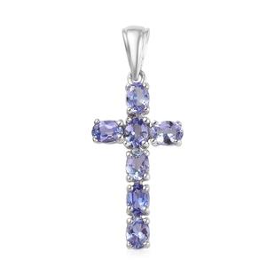 AA Tanzanite (Ovl) Cross Pendant in Platinum Overlay Sterling Silver 1.22 Ct.