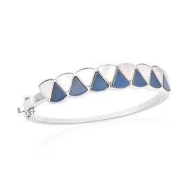 Isabella Liu Dance of Ginkgo - Blue Jade, White Mother of Pearl Bangle (Size 7.5) in Rhodium Overlay