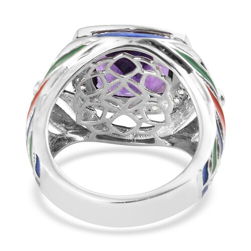 Lusaka Amethyst (Cush 7.50 Ct), Natural Cambodian Zircon Multi Colour Enameled Feather Ring in Platinum Overlay Sterling Silver 8.000 Ct. Silver wt 8.07 Gms.