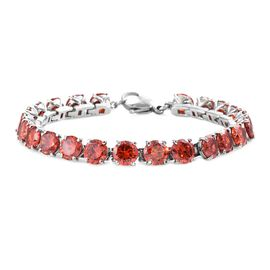DOD - Simulated Fire Opal (Rnd) Tennis Bracelet (Size 7.5) in Stainless Steel