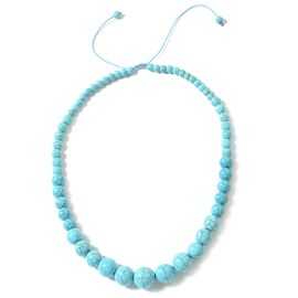 Hong Kong Collection Blue Howlite  Graduated Adjustable Necklace (Size 18 - 24) 279.000 Ct.