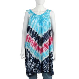 Tie-Dye Embroidered V Neck Summer Dress (One Size; L=90 Cm) - Blue and Navy Blue