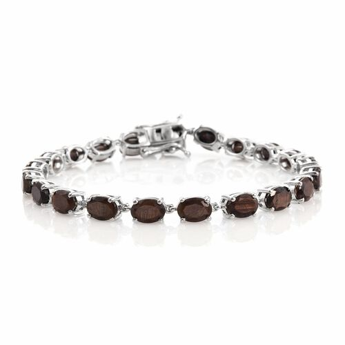 Natural Zawadi Golden Sheen Sapphire (Ovl) Tennis Bracelet (Size 7.5) in Platinum Overlay Sterling Silver 20.500 Ct. Silver wt 8.56 Gms.