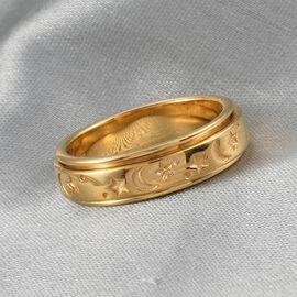 14K Gold Overlay Sterling Silver Sun, Moon & Star Spinner Ring