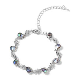 Abalone Shell Cat Bracelet (Size 7 with 3 inch Extender) in Silver Plated