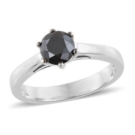 Black Diamond (Rnd) Solitaire Ring in Platinum Overlay Sterling Silver 1.000 Ct.