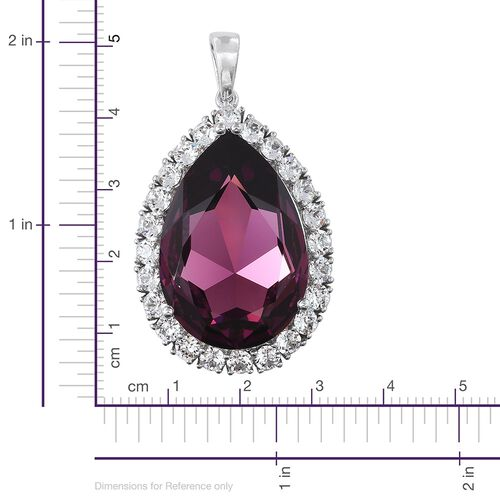 Limited Edition J Francis Crystal from Swarovski - Rubellite Colour Crystal (Pear 30x20 mm), White Colour Crystal Pendant in Platinum Overlay Sterling Silver, Silver wt 6.00 Gms.
