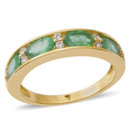 9K Yellow Gold AA Kagem Zambian Emerald (Ovl), Natural White Cambodian Zircon Half Eternity Band Ring 2.500 Ct.